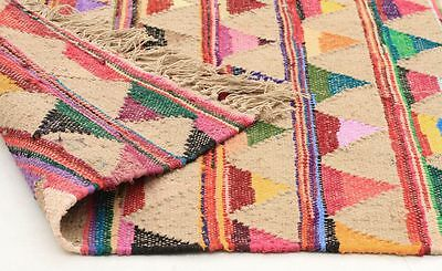 Large Floor Runner Flat Hand Woven Jute and Cotton Floor Rug Multi