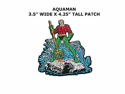 """AQUAMAN 3.5"""" x 4.25"""" Fully Embroidered Insignia Buckle sized Patch Superhero"""