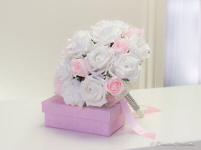 Wedding Flowers in Baby Pink & Ivory Roses with Pearl Detail-Bridesmaids Bouquet