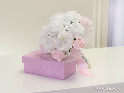 Wedding Flowers in Baby Pink & Ivory Roses with Pearl Detail-Flower Girl Bouquet