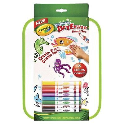 Crayola WASHABLE DRY ERASE BOARD SET W/ 8PC COLOR MARKERS For 4+ Yrs, Low-Odour