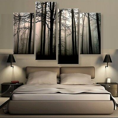 HD Printed Modern Abstract Oil Painting Wall Decor Art Huge - Landscape forest