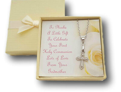 First Holy Communion Necklace Cross With Personalised Card & Box Present