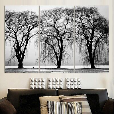 HD Printed Modern Abstract Oil Painting Wall Decor Art Huge - white black Trees