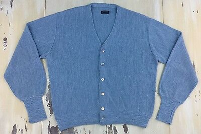 JCPenney - Vtg 60s-70s Light Blue Acrylic Cardigan Sweater, Mens XL