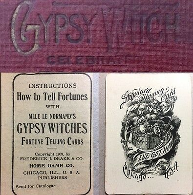 1903 True 1st Ed Gypsy Witch LeNormand HIGH GRADE Fortune Telling Playing Cards