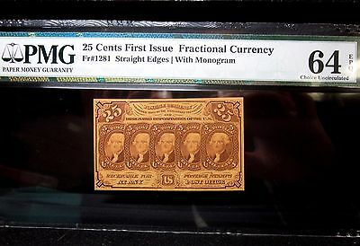 25C Fractional Currency ✪ Pmg 64-Epq Uncirculated ✪ 1St Issue Cu Unc ◢Trusted◣