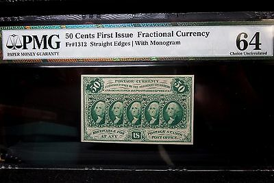50C Fractional Currency ✪ Pmg 64 Uncirculated ✪ 1St Issue Cu Unc 1312 ◢Trusted◣