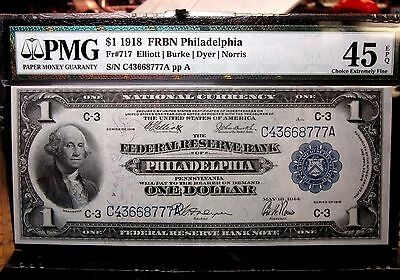 1918 $1 Federal Reserve National Bank-Note ✪ Pmg Xf-45-Epq ✪Fr-717 Phl◢Edelmans◣