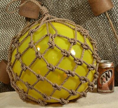 Vintage Japanese Glass Fishing Float In Yellow