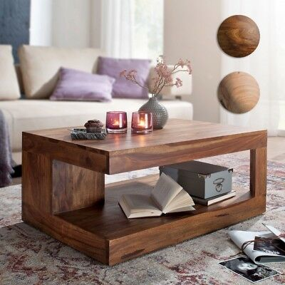 FineBuy coffee table Solid wood 90 cm living room table brown farmhouse table
