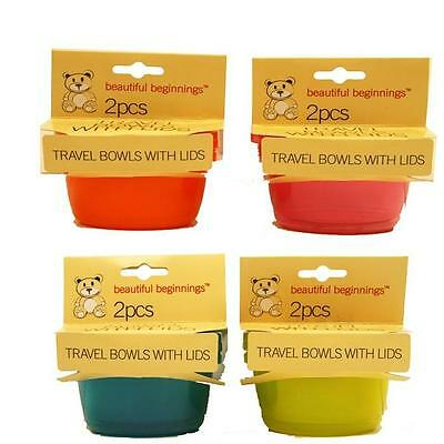 Beautiful Beginnings Baby Travel Bowls with Lid (Assorted Colours) 2 Pack