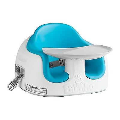Baby Bumbo Seat with Tray Floor Play Feeding Chair New Portable Blue Safety Soft