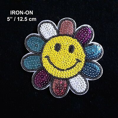 """Smiley Face Yellow Sun Flower 5"""" Sequins Embroidery Iron-on Patch Applique"""