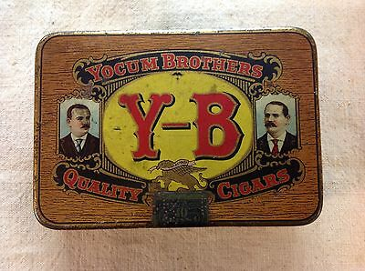 Vintage Antique Metal Yocum Brothers YB Cigar Box Pocket Size Collectible