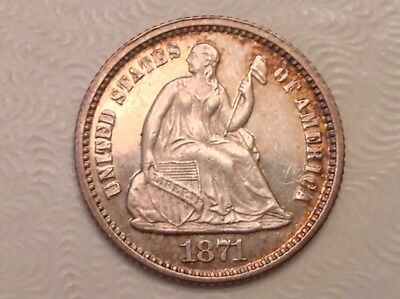 1871 Seated Liberty Half 1/2 Dime Choice Mirror Proof Like Uncirculated Unc