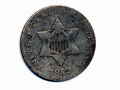 1852 Circulated Three Cent Silver