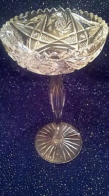 "RARE LARGE American Brilliant Period CUT GLASS COMPOTE 12"" TALL HEAVY CRYSTAL"