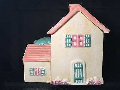 Treasure Craft Cookie Jar - Light Yellow House with Pink Roof