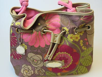 Spartina 449 Daufuskie Island Handbag Linen Leather Brown Pink Purple