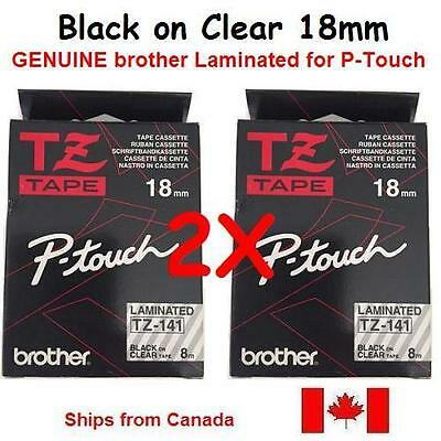 2X GENUINE BROTHER P-Touch RIBBON TAPE LABEL 18mm TZ-141 BLACK on CLEAR - 8m