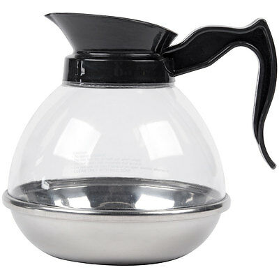 Polycarbonate Coffee Decanter with Stainless Steel Bottom and Black Handle