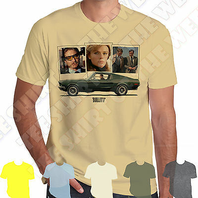 Bullitt Mustang GT fastback Steve Mcqueen Polaroids T-shirt 7 colours to choose