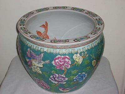 Vintage Chinese Pottery Koi Fish Bowl Planter Jardiniere Marked-LOCAL PICKUP