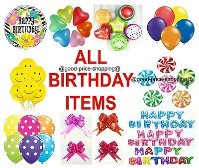 All Birthday item Smiley Ribbon Heart foil Swirl pull bows fruit happy birthday