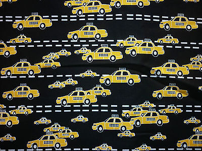 Clearance Fq New York City Roads Yellow Taxi Cabs Cars Transport Fabric
