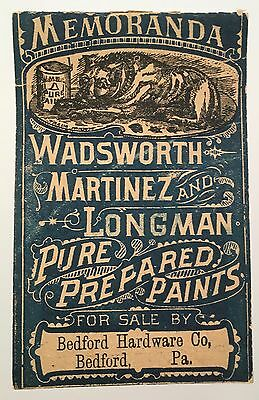 Antique c1880 Paint Hardware Store Advertising Dog Notepad Bedford PA