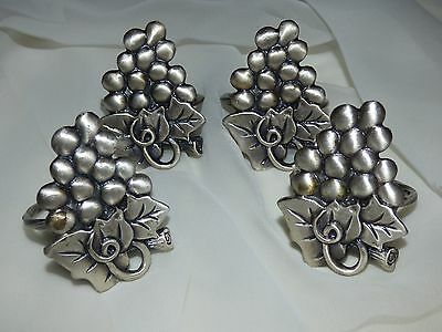 Four Vintage Solid Pewter Decorative Cluster Grapes Napkin Rings