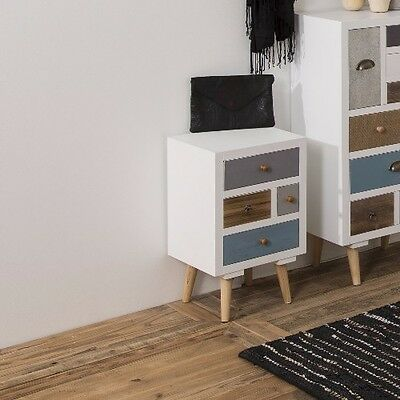 Retro Bedside Table Furniture Vintage White Chest Of Drawers Storage Cabinet New