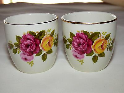 Two Vintage Porcelain Gold Gilt Pink & Yellow Rose Egg Cups NUMBERED