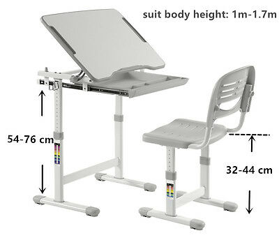 Children Ergonomic Study Table & Chairs, Height adjustable suit age 3-16 (GREY)