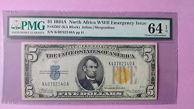 Fr.2307 $5 1934 A North Africa Silver Certificate PCGS 64 PPQ