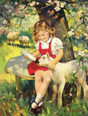 Little Girl Feeding Lamb a Bottle by Frederick Brunner