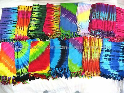 US SELLER- 10 sarongs tie dye stripes swirls summer clothing pareo