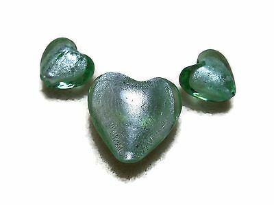 1 Foil Glass Heart Feature Bead Olive Color Beading /& Jewellery Making TAR258