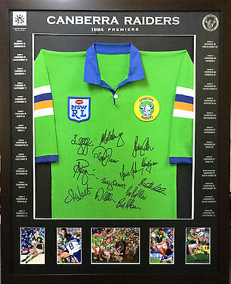 Blazed In Glory - 1994 Canberra Raiders Premiers - NRL Signed and Framed Jersey