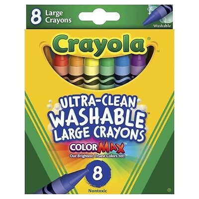 Crayola 8PC LARGE ULTRA CLEAN WASHABLE COLORMAX CRAYONS for 4+ Yrs, 11x101mm