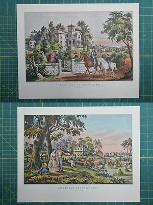 American Country Life Currier & Ives Vintage Antique Art Print 1952 Lot