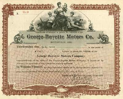 1926 George-Boyette Motors Certificate of Interest in Engine Patent