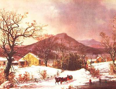 Old time Horse Sleigh Winter Farm Scene by Durrie vintage art