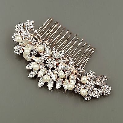 Bridal Hair Comb Pearl Crystal Headpiece Wedding Accessories 00258 ROSE GOLD