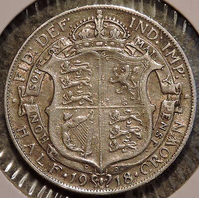 British Silver Half Crown - 1918 - King George V - $1 Unlimited Shipping