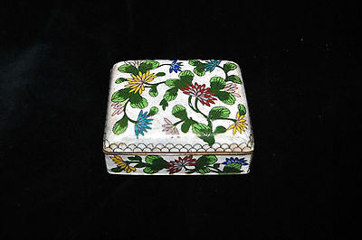 Vintage Antique Chinese Cloisonne Enamel Floral Footed Box!!!