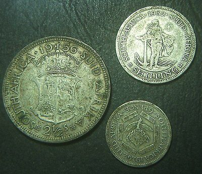 South Africa, 1956 2 1/2 Shilling, 1932 shilling, 1926 sixpence, 3 coins total
