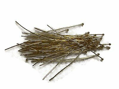 100 piece Head Pins Brass Ball Head Silver Gold Plated 50mm Findings Craft