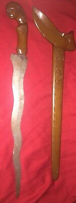"Antique 20"" Long 19th Century Keris Sword Dagger Lombok Indonesian"